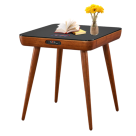Modern Coffee Table Wooden Side Table with Speaker and Charger
